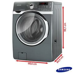 Lavadora e Secadora de Roupa Samsung Yukon 14Kg com Display Digital, Eco Bubble, Diamond Drum, Platinum - WD1142XVMXAZ