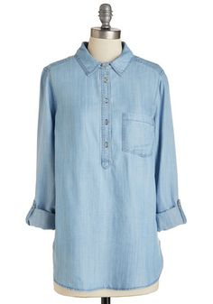 Jean Choice Awards Top - Long, Woven, Blue, Solid, Pockets, Casual, Americana, 3/4 Sleeve, Spring