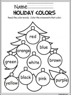 FREE Christmas coloring activity to help young students learn the colors. Easy to differentiate for lower learning levels by outline the ornaments the same color as the color word. Great December activity. Download this FREEBIE at: https://madebyteachers.com/free/444-colorful-christmas-tree.html