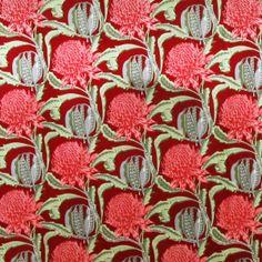 upholstery_fabric_red waratah_red_australia Native flower of AUSTRALIA