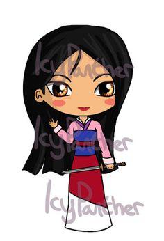 Mulan Chibi by on DeviantArt Chibi Disney, Disney And Dreamworks, Disney Babys, Baby Disney, Cute Disney Drawings, Cute Drawings, Disney Magic, Disney Art, Princesa Disney Aurora