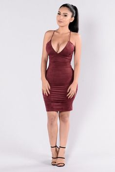 - Available in Burgundy - Suede Midi Dress - Spaghetti Straps - V Neckline - Lace Back - Zipper Back - Back Slit - Made in USA - 92% Polyester 8% Spandex
