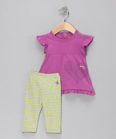Take a look at this Radiant Orchard Heart Stripe Tunic & Leggings by Hurley on #zulily today!