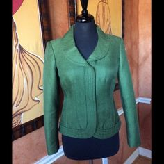 """Albert Nipon Jacket Beautiful tailored jacket. Front snaps flush and all snaps intact.  This jacket looks brand new but was preloved! Fully lined. Neck to hem 21 1/2""""; arm length 22""""; shoulder to shoulder 15""""; waist 32""""; hip 37"""" bust 34""""-36"""".  Size 6 but a small busted 8 can wear this jacket. 55% Cotton 26% wool 21% silk.  If you know Albert Nipon (Neiman's) then you know this fabric is exquisite. Albert Nipon Jackets & Coats"""