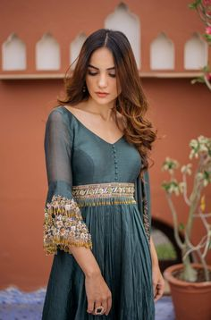 Teal anarkali Kurta Designs Women, Salwar Designs, Blouse Designs, Indian Gowns, Indian Attire, Indian Wear, Pakistani Outfits, Indian Outfits, Indian Designer Outfits