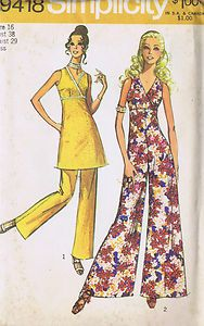 """SIZE 16 BUST 38 WAIST 29 HIP 40""""    Simplicity Pattern  Pattern Number 9418  Copyright: 1971    Vintage 70's Misses Jumpsuit with Palazzo Leg Mini Dress and Pants Patterns    The Mini Dress pattern, view 1 and the Jumpsuit view 2 with empire waistline seam have back zipper and surplice front bodice with V shaped neckline.  The Mini Dress view 1 has novelty trim.  View 1 Pants have elastic waistline casing."""