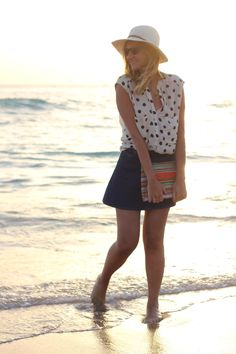 The post is about the skirt but I love the polka dot top