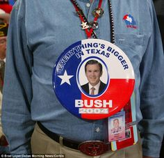 Bigger: Wayne Turner, a Texas delegate, shows off his campaign button and support for President Bush during the first day of the Republican National Convention