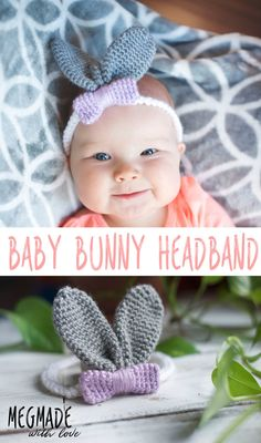 Spring time has got all these cute bunny patterns hopping (heh..) up, so I  thought I'd design the cutest little bunny headband for a little baby girl!  (This pattern is beginner friendly!!)  My cousin's baby, Rory, ROCKED this headband for me. She's just the cutest.  You can see her modeling m