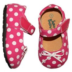 Infant polka dotted Mary Jane. Cute overload..