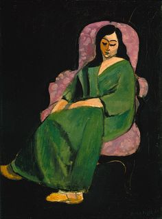 Henri Matisse / Laurette in a Green Robe (Black Background) / 1916 | The Metropolitan Museum of Art / love the contrast of these colors with the black background...