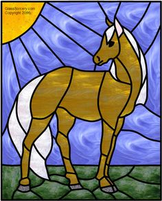 Stained Glass Pattern: Young Horse