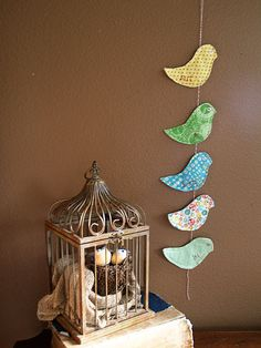 Quilted bird mobile