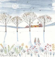 Sketch Painting, Watercolor Sketch, Watercolor Landscape, Watercolor Illustration, Watercolor Flowers, Watercolor Paintings, Watercolors, Cool Art Drawings, Winter Art
