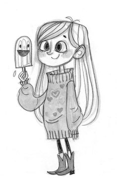 Concept art sketch for little girl: