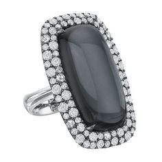 Noir 18K White Gold, Hematite, Quartz & Diamond Ring
