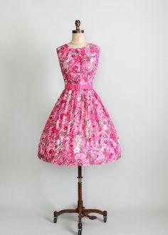 Vintage 1950s Floral Rose Cotton Dress  $140.00