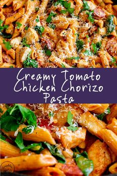 This Creamy Tomato Chicken and Chorizo Pasta is the ultimate comfort food! Ready in under 30 minutes this family friendly dinner is so easy to make! Flavor packed chorizo, just chicken breast, a cream Tomato Pasta Recipe, Creamy Pasta Recipes, Healthy Pasta Recipes, Creamy Tomato Pasta, Chicken Breast Recipes Healthy, Healthy Chicken, Salad Recipes, Chicken And Chorizo Pasta, Chicken Pasta Recipes