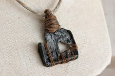 Handmade Rustic Pendant w/ Hemp Necklace and by EtinifniCreations, $38.00
