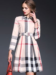 SheIn offers Apricot Lapel Long Sleeve Drawstring Dress & more to fit your fashionable needs. Cool Style Outfits, Plaid Outfits, Pretty Outfits, Tartan Fashion, Hijab Fashion, Fashion Dresses, Unique Dresses, Beautiful Dresses, Casual Dresses