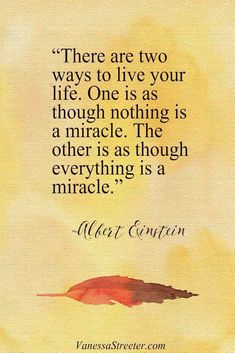"""Mindset Shift. """"There are two ways to live your life. One is as though nothing is a miracle. The other is as though everything is a miracle."""" ~Albert Einstein www.vanessastreeter.com"""