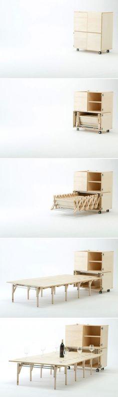 Table pliante avec 6 chaises intégrées ARCHI, table pliante avec