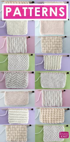 Knit and Purl Stitch Patterns with Free Patterns and Video Tutorials in the Abso. Knit and Purl stitch patterns with free patterns and video tutorials in the Absolute Beginner Knitting Series by Studio Knit Source. Knitting Stiches, Free Knitting, Crochet Stitches, Pearl Stitch Knitting, Knitting Stitch Patterns, Knitting And Crocheting, Simple Knitting, Start Knitting, Sock Knitting
