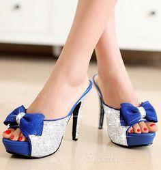 sensationaly hot Open Toe Shimmering Powder Bowknot Stiletto Heel Sandals