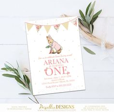 Peter Rabbit Birthday Invitation, Peter Rabbit Invitation, Girl Pink Floral Peter Rabbit Classic Birthday Invitation Printable