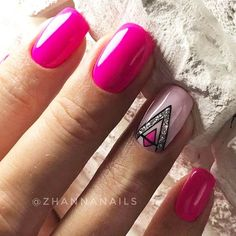 78 Hot Pink Nails Art Designs,Can Be Used In Almost All Occasions - - . 78 Hot Pink Nails Art Designs,Can Be Used In Almost All Occasions - - nails ideas short Accent Nail Designs, Square Nail Designs, Nail Art Designs, Nails Design, French Manicure Nails, Pink Manicure, Hot Pink Nails, Pink Nail Art, Short Square Nails