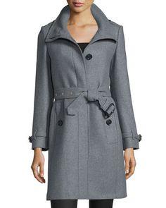 B39J2 Burberry Brit Gibbsmore Wool-Blend Single-Breasted Coat, Steel Gray Melange