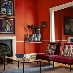 """Dynamic red/orange paint from called """"Koi Carp"""" not for the faint hearted, but undeniably dazzling. Interior House Paint Colors, Living Room Inspiration, Interior Paint Colors, Living Room Orange, Living Room Paint, Orange Rooms, House Paint Interior, Home Decor, Colorful Interiors"""