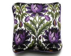 Cushion. throw pillow, purple and green, cover, vintage, Arts and Crafts style, mid seventies, artichoke design,  print