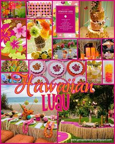 Image detail for -GreyGrey Designs: Chic Hawaiian Luau Inspiration Board Luau Theme Party, Aloha Party, Party Fiesta, Hawaiian Luau Party, Hawaiian Birthday, Hawaiian Theme, Luau Birthday, Tiki Party, Tropical Party