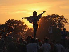 Glastonbury festival sunset photo