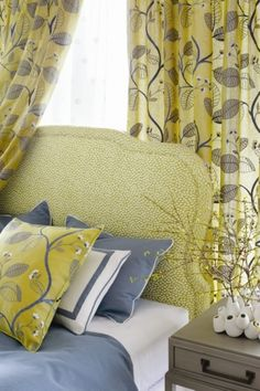 Custom Headboard in Lime Green. Celia Vine in # citron, Spot On in from the Aria collection, Dyed Sack Fabric in Anna French, French Bed, Custom Headboard, Bed Pillows, Cushions, Design Process, Color Inspiration, Pillow Cases, Upholstery