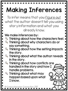 If you're teaching your students to make inferences, you might start with this print and go anchor chart. It is part of a mentor text lesson featuring Silver Packages by Cynthia Rylant. Reading Lessons, Reading Skills, Writing Skills, Math Lessons, Spanish Lessons, Learning Spanish, 4th Grade Reading, Guided Reading, Close Reading