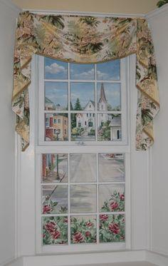 Hand Painted Window Mural of Hingham Town Center in Hingham Ma. by artist Renee' MacMurray