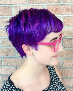 Hair by Austin @blonde_society (Crafter 2): Purple pixie cut & color using Paul Mitchell POPXG. Styled with Kevin.Murphy Hair.Resort and Night.Rider