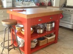 """Newly painted butchers block in our kitchen. Farrow & Ball """"blazer"""" eggshell."""