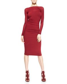 B2LBZ Donna Karan Long-Sleeve Low-Back Sheath Dress, Ruby Red