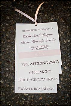 pink and white flip book wedding program #weddingprogram #weddingideas #weddingchicks http://www.weddingchicks.com/2014/03/04/funky-seaside-wedding/