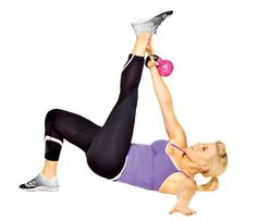 Works: arms, abs, butt, hamstrings Lie faceup, knees bent, feet flat; hold kettlebell in right hand, weight resting on back of wrist, arm straight up, left arm out to side on floor. Lift hips, extending left leg forward. Reach right hand to touch left ankle (as shown). Continue for 30 seconds. Switch sides; repeat.