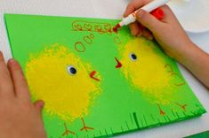 Spring Chick Card - stamped with a shower poof to get the soft fluffy look, what a great idea.