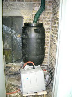 rain barrels + 1 horsepower well pump to bring rain water up to rooftop garden!