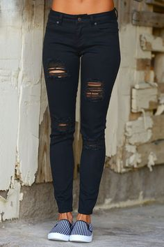 She's A Heartbreaker Destroyed Skinny Jeans - Black from Closet Candy Boutique