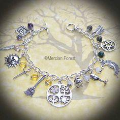 The Season of the Witch Charm Bracelet - Pagan Jewellery, Wicca, Gemstone
