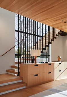 Entry facing North Tagged: Staircase, Wood Tread, and Metal Railing. St Joseph Beachfront Home by Wheeler Kearns Architects. Browse inspirational photos of modern staircases. Interior Stairs, Home Stairs Design, Interior Architecture, Apartment Interior, Modern Stairs Design, Stair Design, Interior Design, Interior Ideas, Wood Cladding