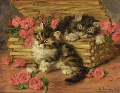 Playful kittens -- by Daniel Merlin (French, 1861–1933)