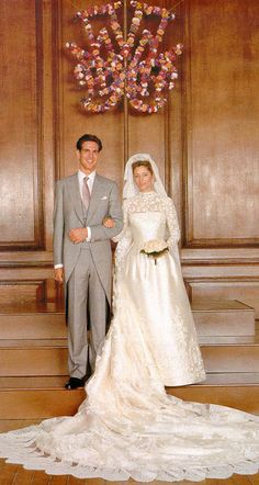 Speaking of Greeks, here's Crown Prince Pavlos and his bride, Marie Chantal Miller. Marie Chantal is of US-Ecuadorian ancestry and Pavlos, the son of the exiled King of the Hellenes (Greece), Constantine II, is well, of Danish-German (and not so much Greek) descent. Constantine II is Queen Sofia's brother.  1995.